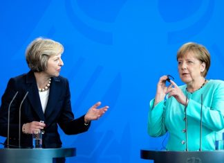 German Chancellor Angela Merkel (R) and British Prime Minister Theresa May attend a press conference after their meeting at the Chancellery in Berlin, Germany, on July 20, 2016. (Xinhua/Guo Yang) (zw)