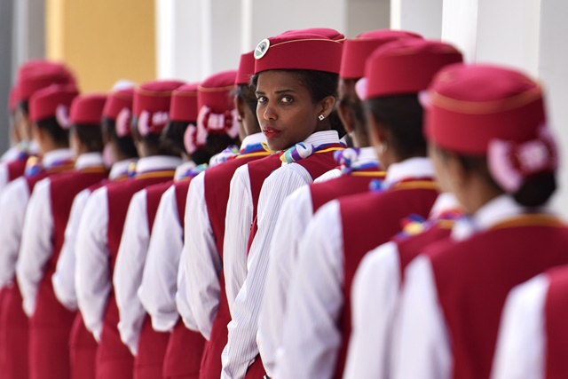 Ethiopian attendants participate in the opening ceremony of Ethiopia-Djibouti railway at the Lebu station in Addis Ababa, Ethiopia, on Oct. 5, 2016. (Xinhua/Sun Ruibo) (zw)