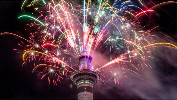 Fireworks explode from Auckland