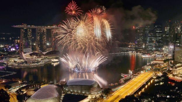 Fireworks explode above Singapore
