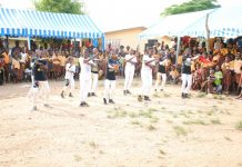 Some of the pupils performing during the Christmas party at Anoff MA Community School