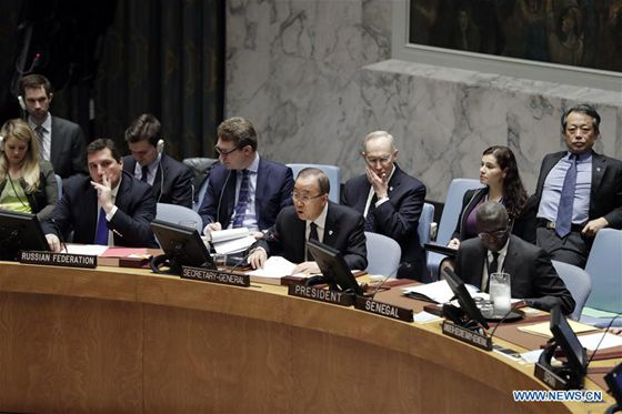 United Nations (UN) Secretary-General Ban Ki-moon (C, front) speaks after the UN Security Council adopted a resolution in response to DPRK's fifth nuclear test, at the UN headquarters in New York, the United States, Nov. 30, 2016. [Photo/Xinhua]