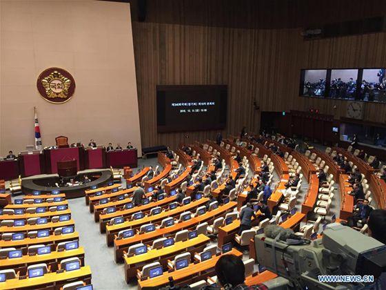 South Korean parliament kicks off vote on presidential impeachment in Seoul Dec. 9, 2016. [Photo/Xinhua]
