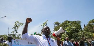 A man shouts slogans during a strike by staff members from public universities in Nairobi, capital of Kenya, on Jan. 19, 2017. Learning in Kenyan public universities was on Thursday paralyzed as faculty members and subordinate workers went on strike citing the government's failure to honor a pay increase deal signed in 2013. (Xinhua/Pan Siwei)