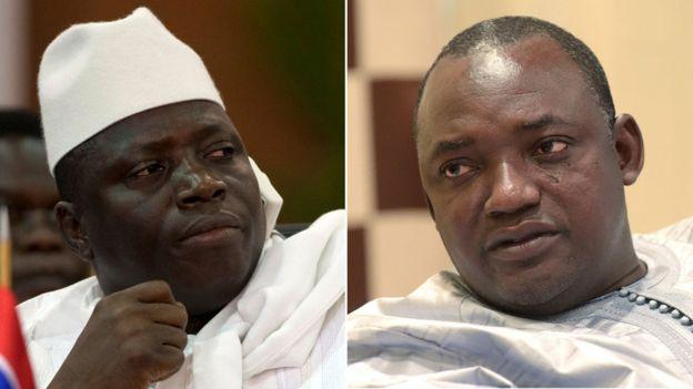 Yahya Jammeh (L), Adam Barrow (R)