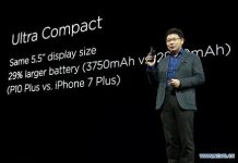 Yu Chengdong, CEO of the Consumer BG of Huawei introduces Huawei P10 Plus during the launch ceremony ahead of the Mobile World Congress 2017 in Barcelona, Spain on Feb. 26, 2017. China's technology giant Huawei launched its P10 and P10 Plus devices ahead of the Mobile World Congress 2017 here on Sunday. (Xinhua/Lino De Vallier)