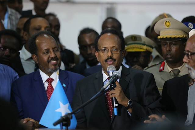 Mohamed Abdullahi Farmajo speaks after winning the vote in Mogadishu, Somalia, Feb. 8, 2017. Former Prime Minister Mohamed Abdullahi Farmajo was elected new president of Somalia in a tightly contested polls held in Mogadishu on Wednesday. (Xinhua/Pan Siwei)
