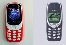 A combination photo of the new Nokia 3310 and the old version of the phone carrying the same moniker. (Agencies)
