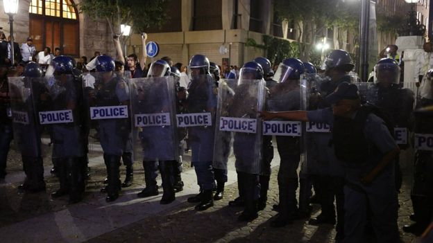 Police outside parliament in Cape Town, South Africa, Thursday, Feb. 9, 2017