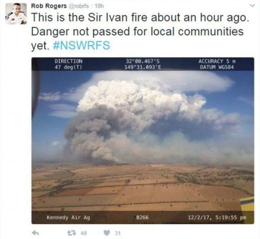 An aerial photo of the Sir Ivan fire near Dunedoo