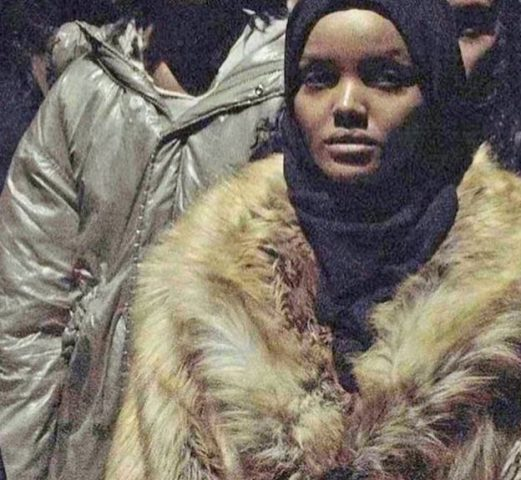 Model Halima Aden posted a photo of her fur coat on Instagram