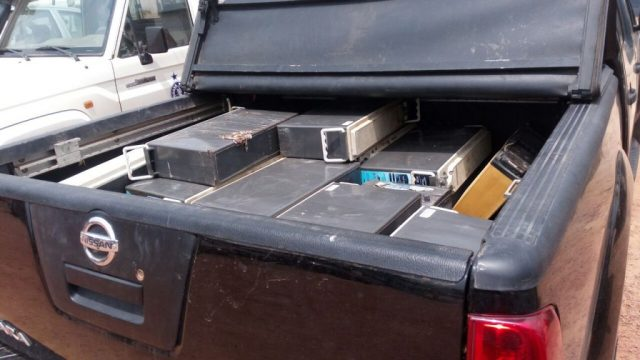 The stolen back-up batteries in the pick-up.