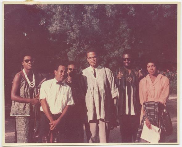 Malcolm X in Ghana with Maya Angelou, Julius Mayfield, Alice Windom, Vicki Garvin