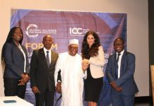 L-R CEO, West Blue Consulting- Md. Valentina Mintah; Mr Emmanuel Doni-Kwame, Secretary General, ICC Ghana; Chairman ICC Ghana, Alhaji Asoma Banda; Donia Hammami, Vice President- Global Alliance for Trade Fac