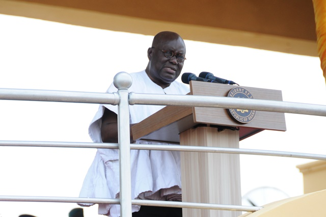 Ghana's President Nana Addo Dankwa Akufo-Addo delivers a speech during Ghana's 60th Independence Day celebration at the Independence Square in Accra, capital of Ghana, March 6, 2017. Ghana marked its 60th Independence Day at the Independence Square in the capital Accra on Monday, with a host of foreign dignitaries showing up to celebrate its position as the first Sub-Saharan country to attain independence. (Xinhua/Shi Song)