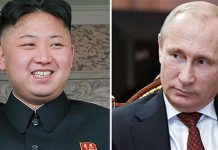 North Korea's leader Kim Jong-un (L) and Russian President Vladimir Putin