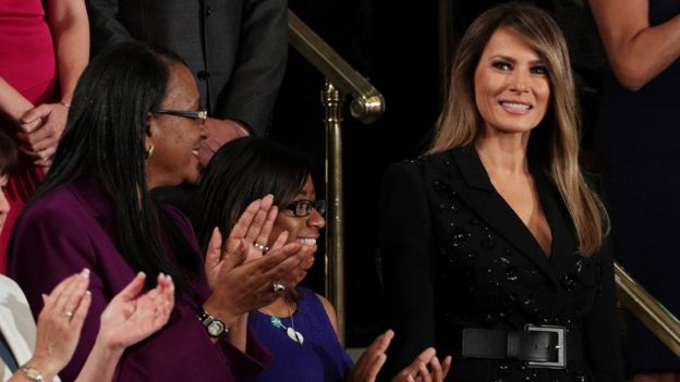 First Lady Melania Trump (R) at the speech