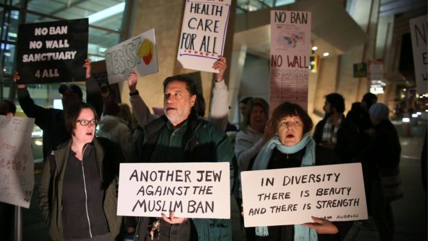 Protesters chant during a rally against the travel ban at San Diego International Airport on March 6, 2017 in San Diego, California