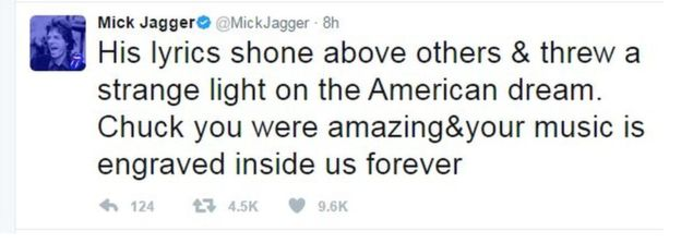 Tweet from Mick Jagger: