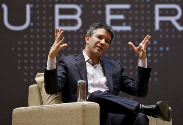 Uber CEO Travis Kalanick speaks to students during an interaction at the Indian Institute of Technology (IIT) campus in Mumbai, India on January 19, 2016.