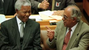 Ahmed Kathrada and Nelson Mandela in the South African parliament