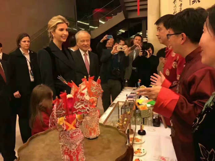 Ivanka Trump, eldest daughter of U.S. President Donald Trump and her daughter Arabella Rose Kushner visited the Chinese Embassy for the Chinese Spring Festival celebrations on Feb.1 night in Washington D.C. (Photo by Chen Lidan from People's Daily)Ivanka Trump, eldest daughter of U.S. President Donald Trump and her daughter Arabella Rose Kushner visited the Chinese Embassy for the Chinese Spring Festival celebrations on Feb.1 night in Washington D.C. (Photo by Chen Lidan from People's Daily)