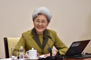 Fu Ying, spokesperson for the fifth session of China's 12th National People's Congress (NPC), takes questions from Chinese and foreign journalists during a press conference on the session on March 4, 2017. (Photo by Weng Qiyu from People's Daily)