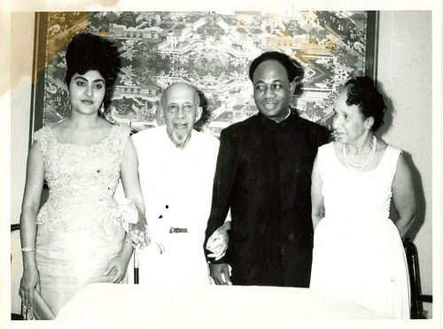 Kwame Nkrumah and Fathia with the Du Boises, Aug. 1963(1)