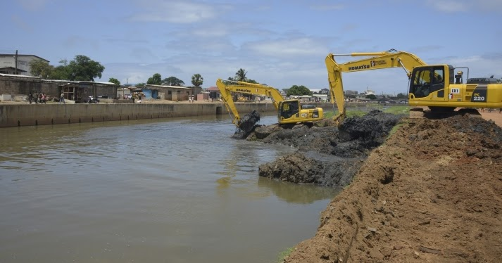On-going dredging works on the Odaw drain