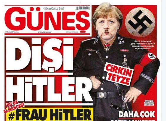 A Turkish tabloid depiction of Angela Merkel