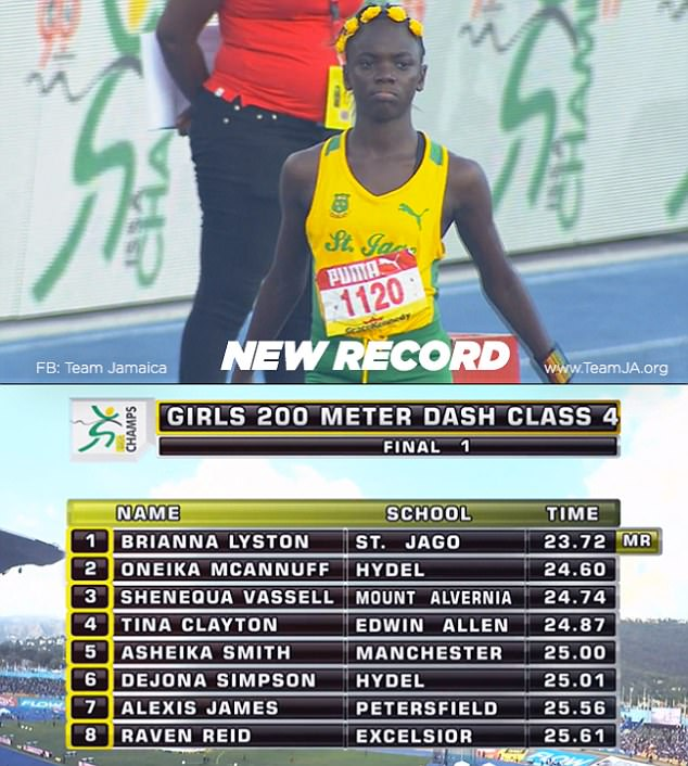 Brianna Lyston beat the Girls' Class Four 200-metre record in Kingston by posting 23.72 secs