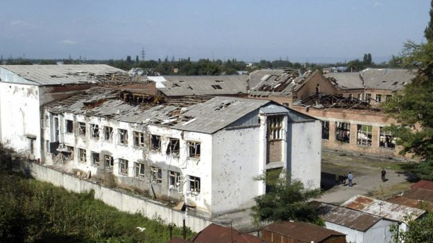 A picture taken 09 September 2004 shows the destroyed school in Beslan.