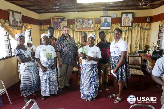 USAID/Ghana Mission Director Andy Karas meets with former victims of child labor and trafficking in Moree. These are now anti-child labor advocates, with support from USAID. Credit: Yooku Ata-Bedu, USAID/Ghana