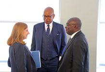 H.E Mahamudu Bawumia, Vice President of Ghana (right) speaks with IFC VP and General Counsel Ethiopis Tafara (center) and World Bank Group Trade and Competitiveness Senior Director Anabel Gonzalez (left), confer following a high-level dialogue on opportunities for ambitious reforms of the business environment in Ghana. The event took place at IFC's offices during the Spring Meetings of the IMF and World Bank Group in Washington on April 21, 2017.