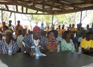 The Paramount Chief of Katiu , Pe Ayikode Zangbeo Atoge IV ,one of the chiefs addressing the durbar at the Katiu community