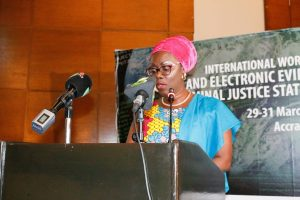 The Hon. Minister for Communications, Mrs. Ursula Owusu-Ekuful delivering her keynote address at the opening ceremony.