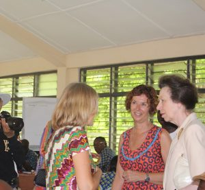 VSO volunteers Judith Buckley (left) and Nicky Williams (middle) in an interaction with HRH Princess Anne