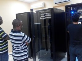 The Network Engineers from Subah busily fixing equipment at the Sierratel Data Center at Aberdeen