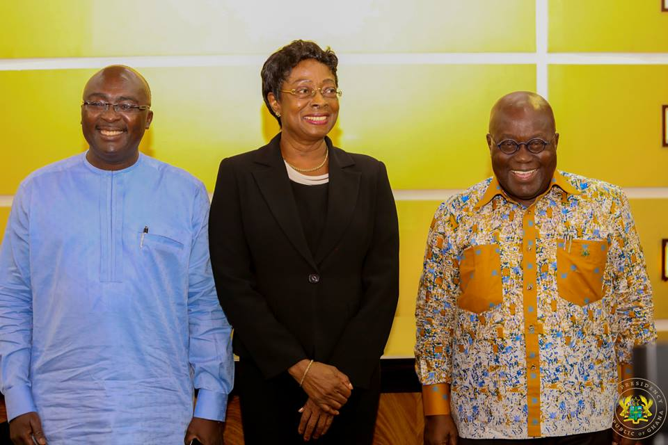 President Akufo-Addo and his Vice with the new Chief Justice, Sophia Akuffo.