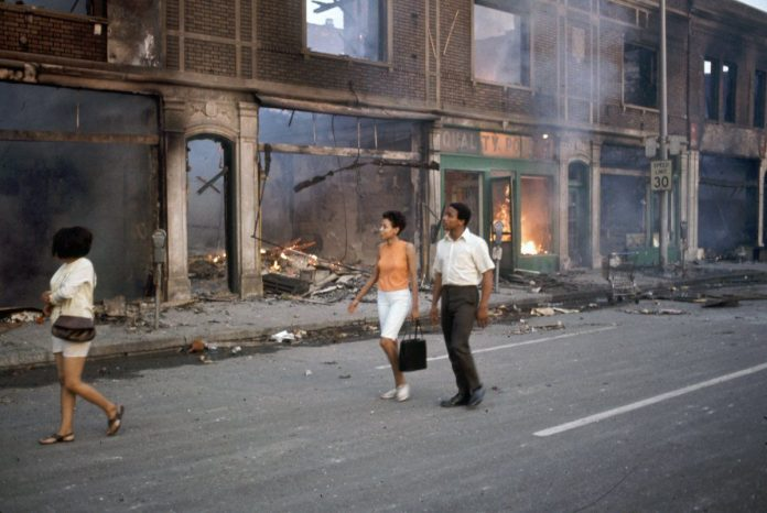Detroit Rebellion July 1967 as African Americans take over the streets