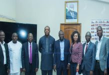 HON SARAH ADWOA SAFO IN A GROUP PHOTO WITH THE MINISTER OF EDUCATION DR. MATTHEW OPOKU PREMPEH AND HIS TEAM
