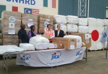 JICA-Chief-Rep-and-Japanese-Ambassador-handing-over-relief-items-to-the-Sierra-Leonean-High-Commissioner