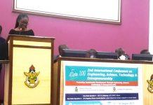 Ms Vanessa Ashun delivering a speech on behalf of Odebrecht Ghana