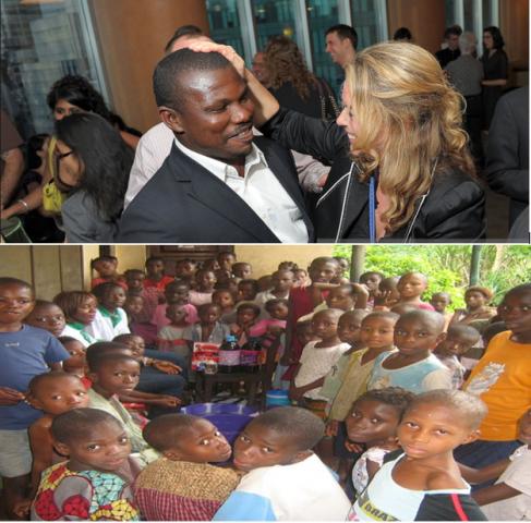 Sam Itauma and some of the rescued children