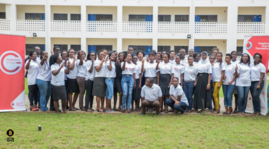 The 30 female scholars in a pose with their tutors after the camp