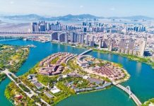A bird's eye view of Dongdu Port in Xiamen, where the ninth BRICS Summit is expected to be held in early September. (Photo by Wei Peiquan from Xinhua News Agency)