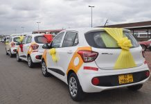 A display of the six brand new Hyundai Grand i10 Taxis at the Achimota Bus Terminal in Accra