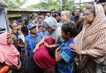 Bangladesh PM Sheikh Hasina meets new arrivals in Kutupalong Refugee Camp, Cox's Bazar. Photo: Govt. of Bangladesh.