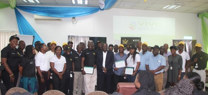 The Managing Director of Vivo Energy Ghana, Mr Ebenezer Faulkner together with contractors and retailers at the Safety Day event