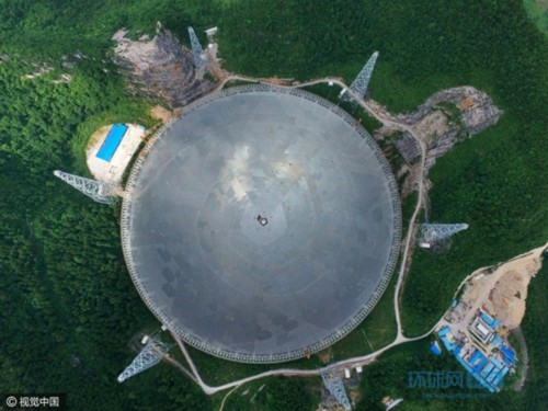 An overhead view of the 500-meter aperture spherical telescope (FAST). (Photo by Huanqiu.com)